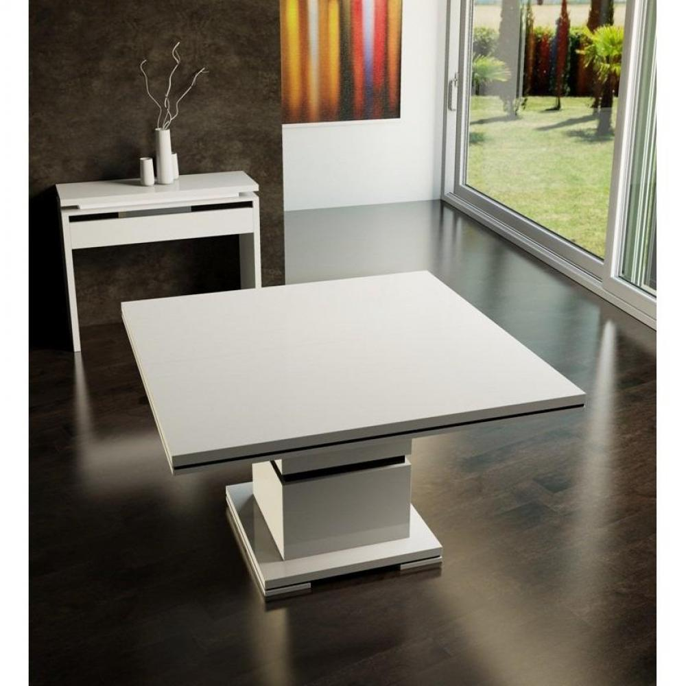 Exceptional table carree design avec rallonge 4 table for Table blanche carree