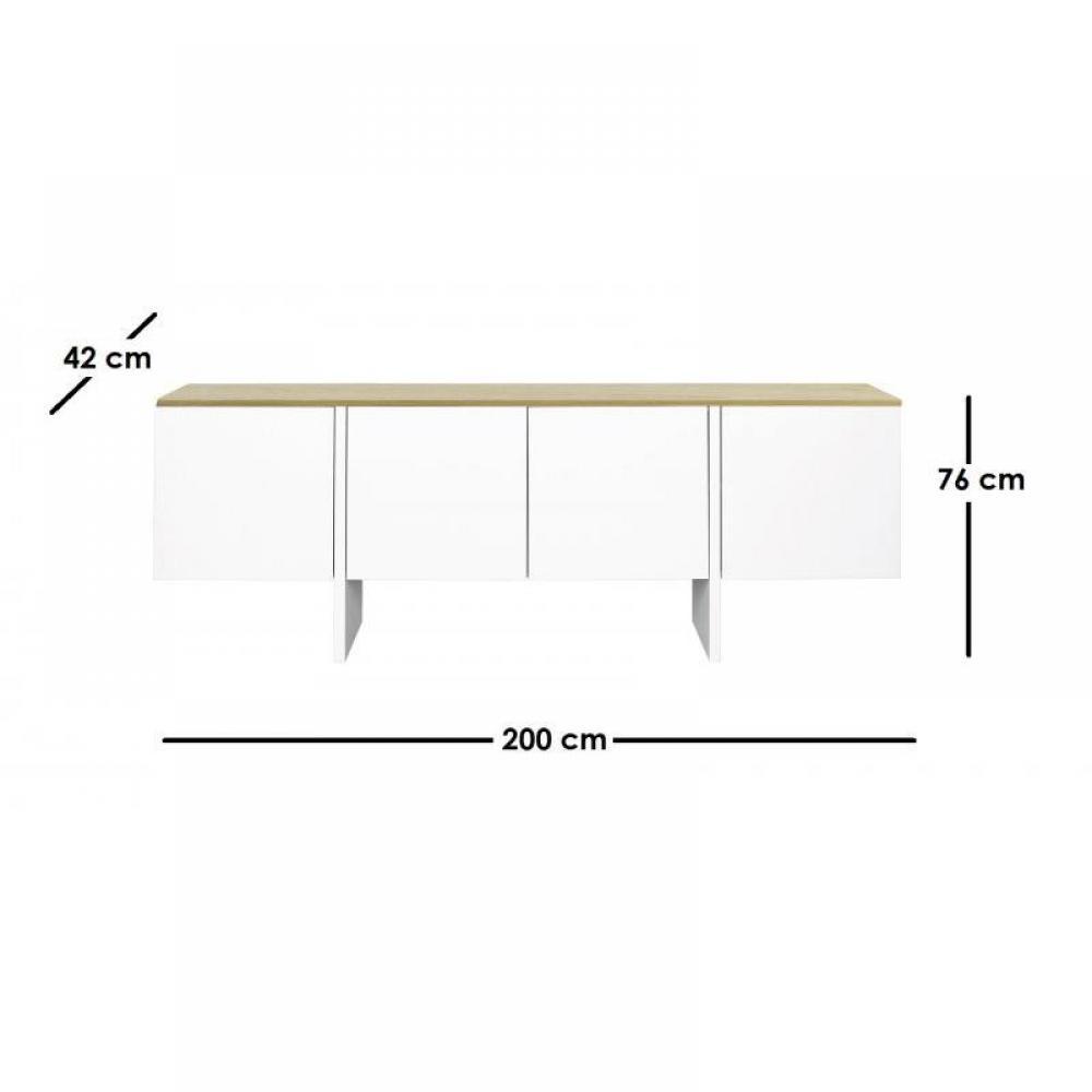 EDGE buffet 4 portes blanc avec plateau chêne