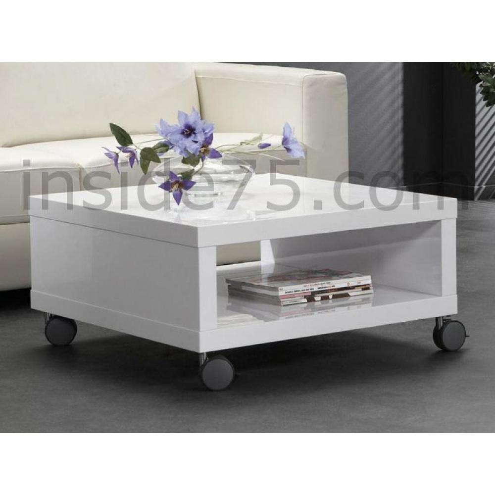 Table basse carr e ronde ou rectangulaire au meilleur prix table basse mobi - Table basse blanc brillant ...