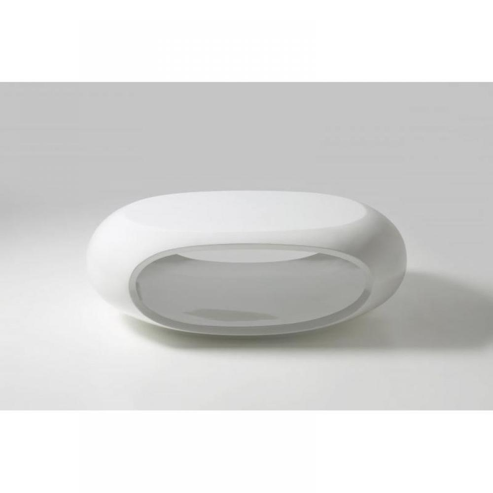 Table basse carr e ronde ou rectangulaire au meilleur prix table basse elliptique laqu blanc for Table ronde laque blanc