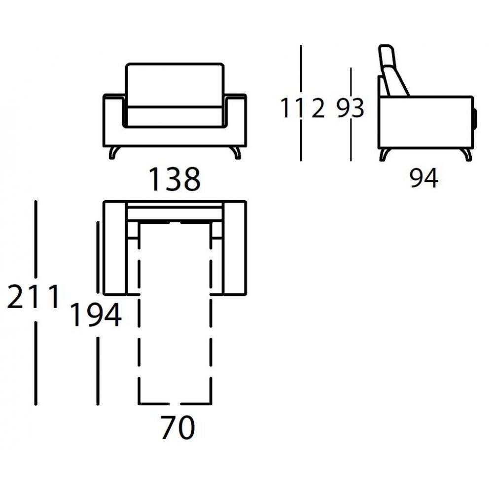 Fauteuil EMPIRE convertible ouverture EXPRESS 70*195*12cm