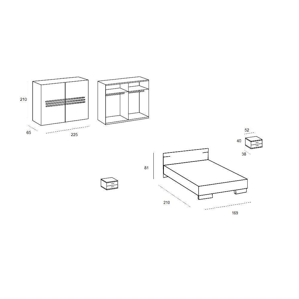 Chambre à coucher CARAMELLA chêne