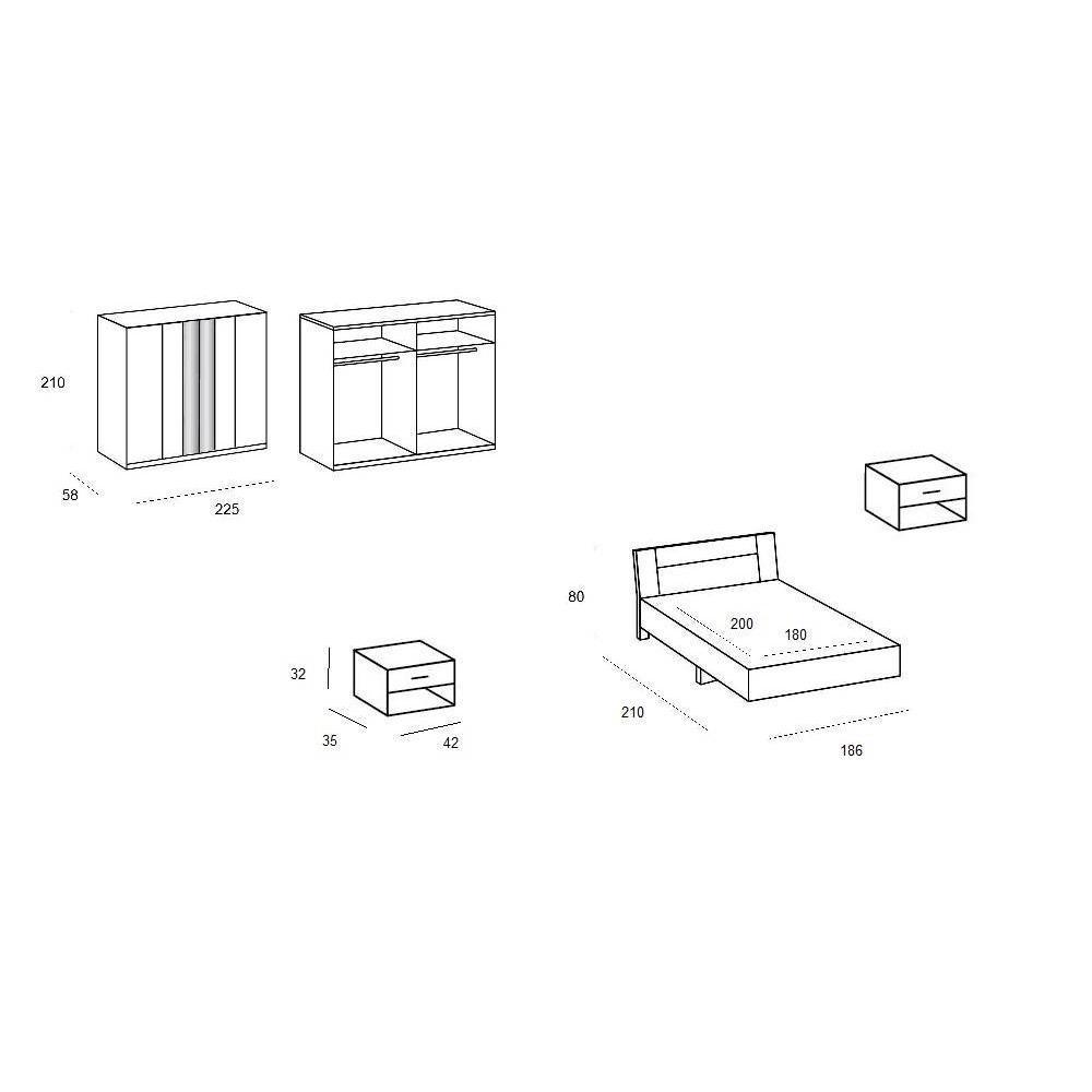 Chambre à coucher THALIA blanche/hêtre 180*200cm