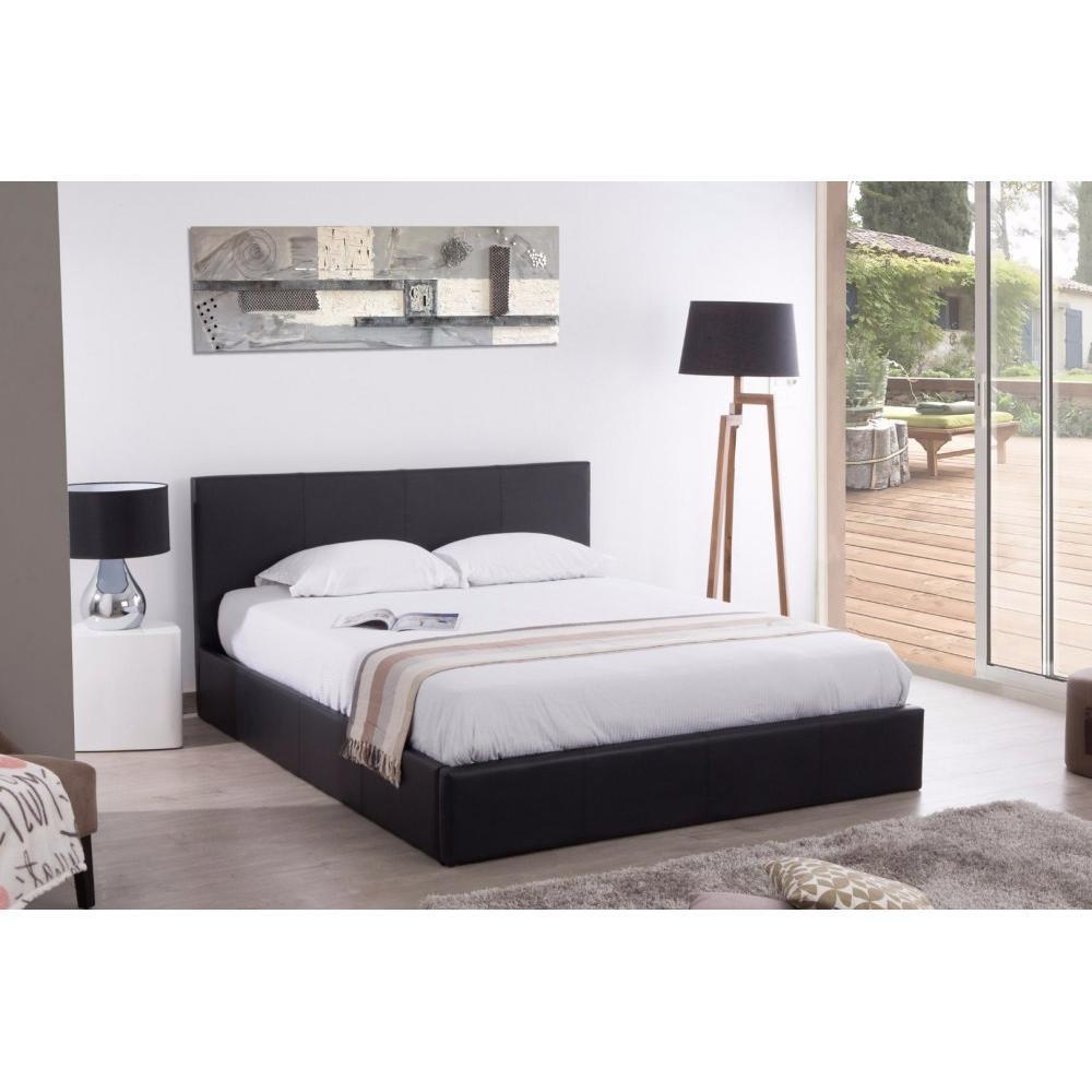 lits chambre literie lit coffre haut de gamme epsillon couchage 140 190 cm simili punoir. Black Bedroom Furniture Sets. Home Design Ideas