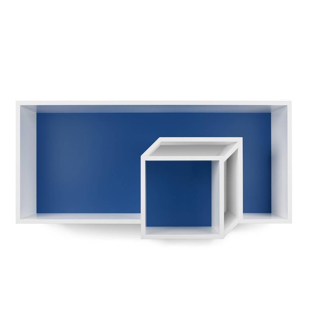 Etagère TemaHome CUBIC murale blanche mate/bleu foncé. Une forme originale pour cette étagère murale CUBIC qui ne passera