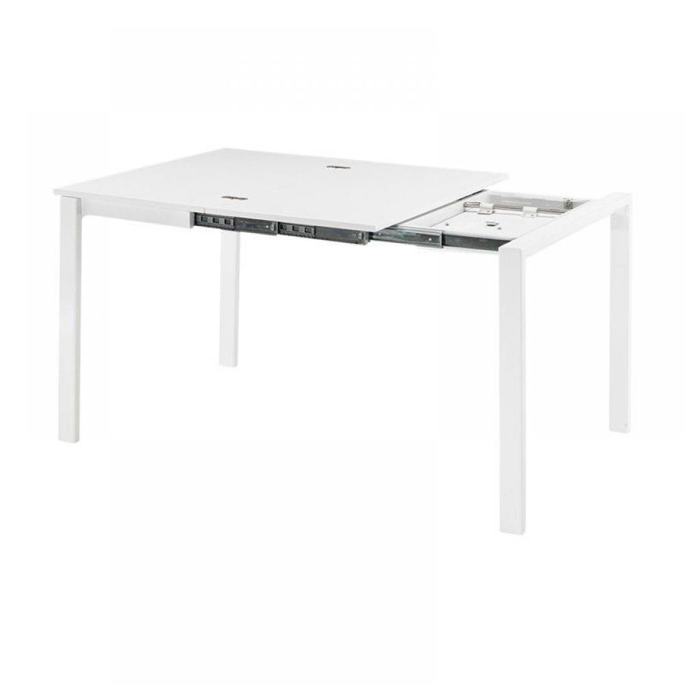 Table console extensible blanc laque design table a for Table extensible laque blanc