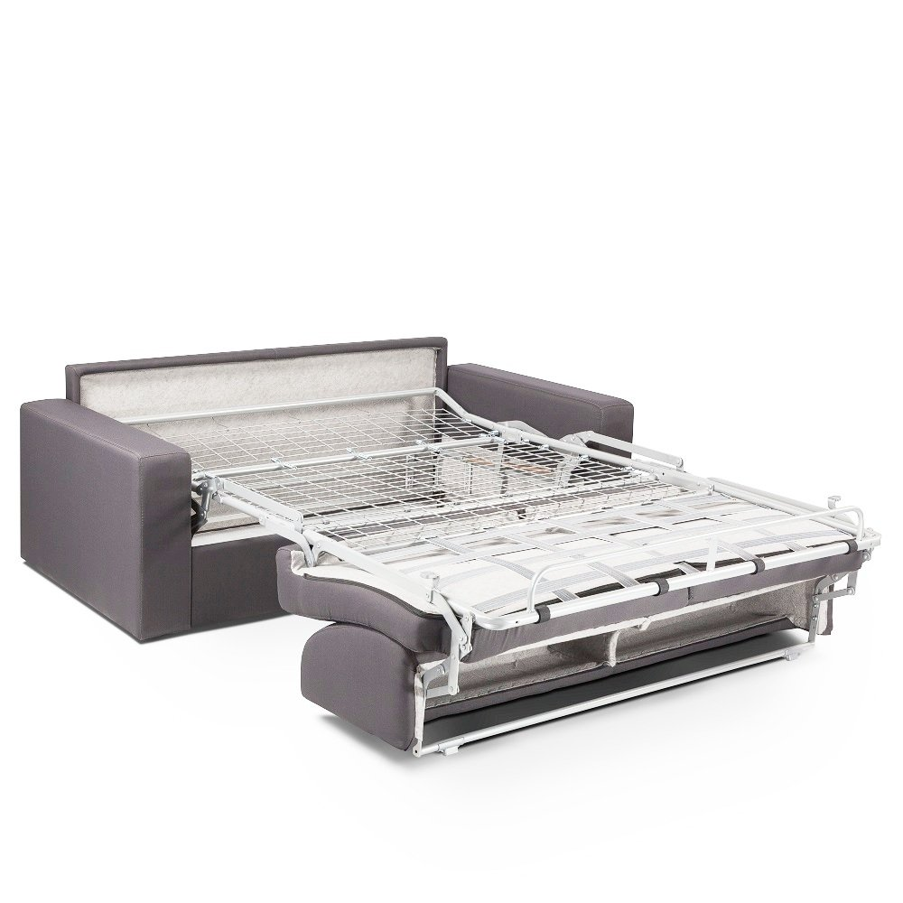 Canapé convertible MIDNIGHT EXPRESS  140cm matelas 16cm neo gris silver