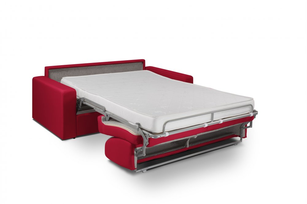 Canapé convertible MIDNIGHT EXPRESS 140cm matelas 16cm neo rouge