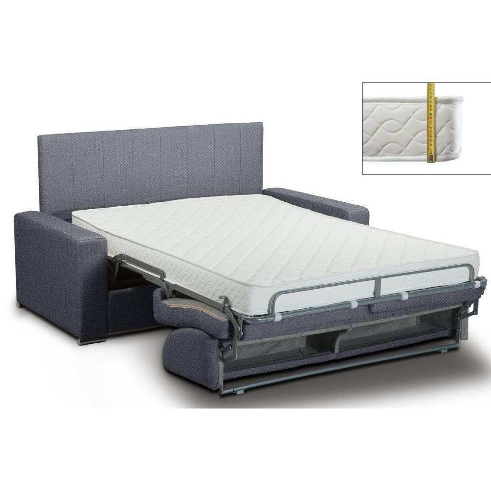 Canapé lit rapido  lattes matelas mémory  22cm tête de lit intégrée  velours  bleu navy