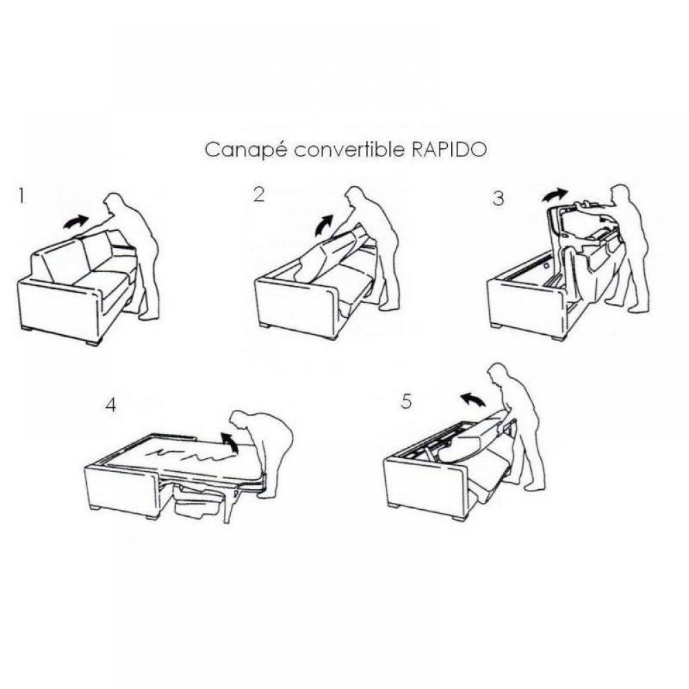 Canapé OPERA  RAPIDO LATTES 160cm matelas 16 cm tête de lit intégrée velours gris silver