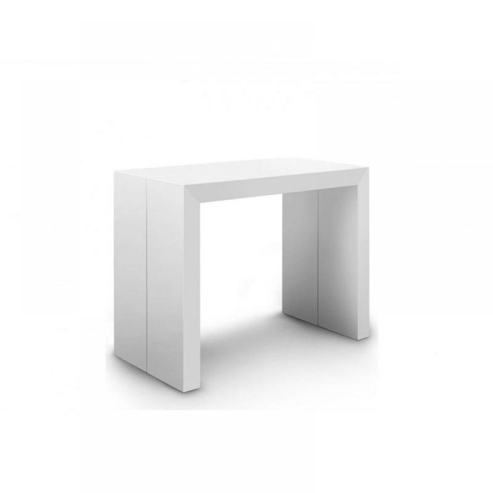 consoles extensibles meubles et rangements console table extensible extenso blanc brillant 12. Black Bedroom Furniture Sets. Home Design Ideas