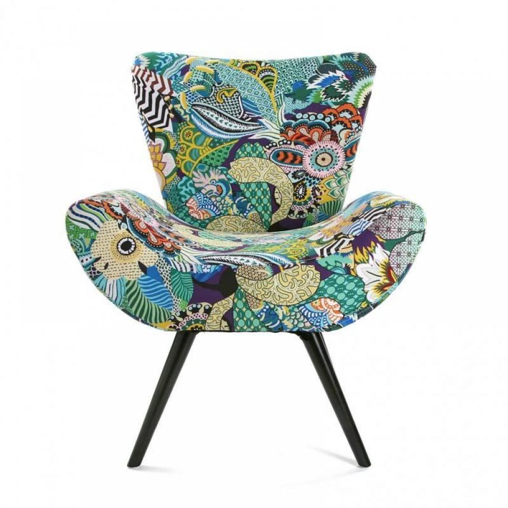 fauteuils design canap s et convertibles fauteuil agnes arrondi tissu flower patchwork inside75. Black Bedroom Furniture Sets. Home Design Ideas
