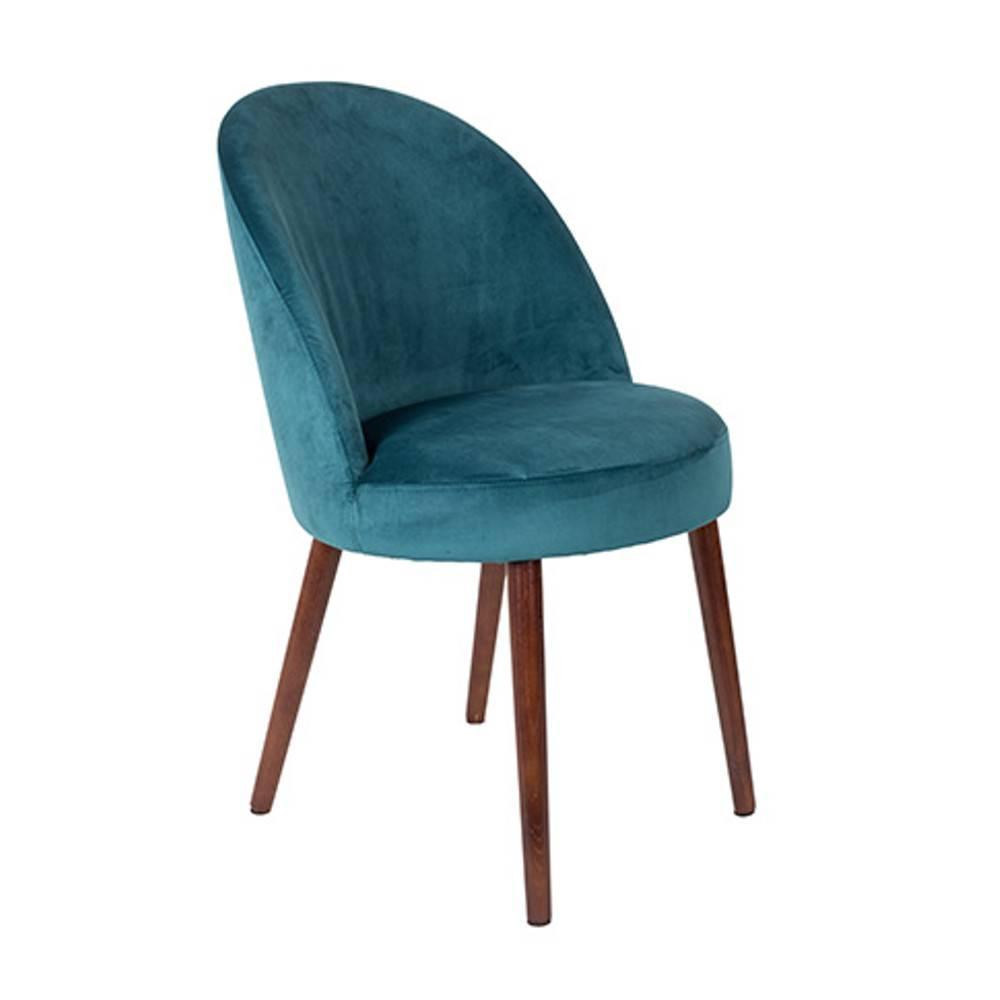 Fauteuil design scandinave BARBARA velours bleu
