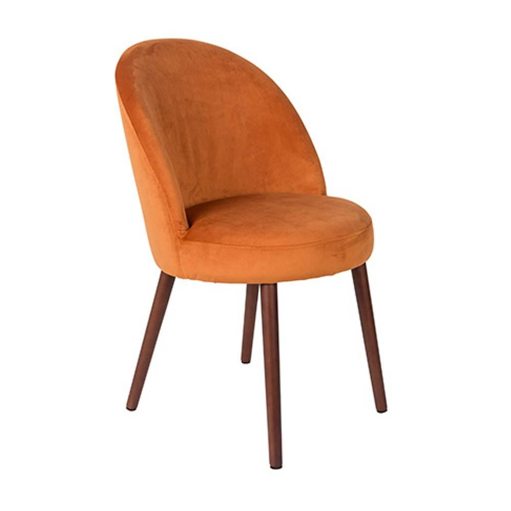 Fauteuil design scandinave BARBARA velours orange