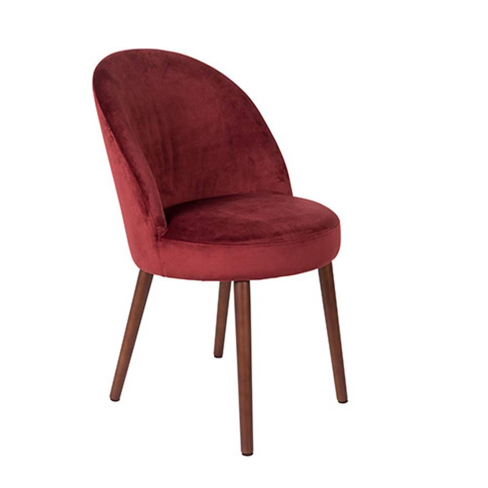 Fauteuil design scandinave BARBARA velours rouge