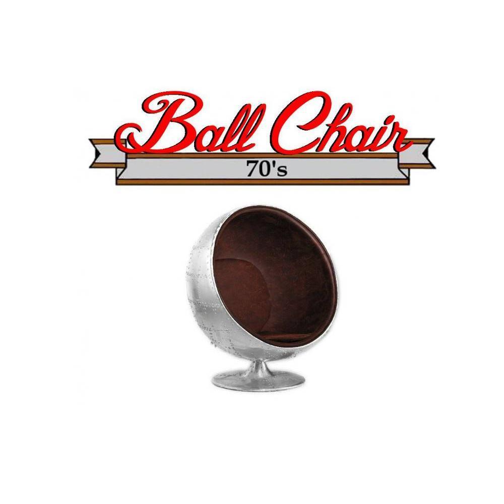 Fauteuil boule, Ball chair AVIATEUR En Aluminum Style Vintage.Design 70