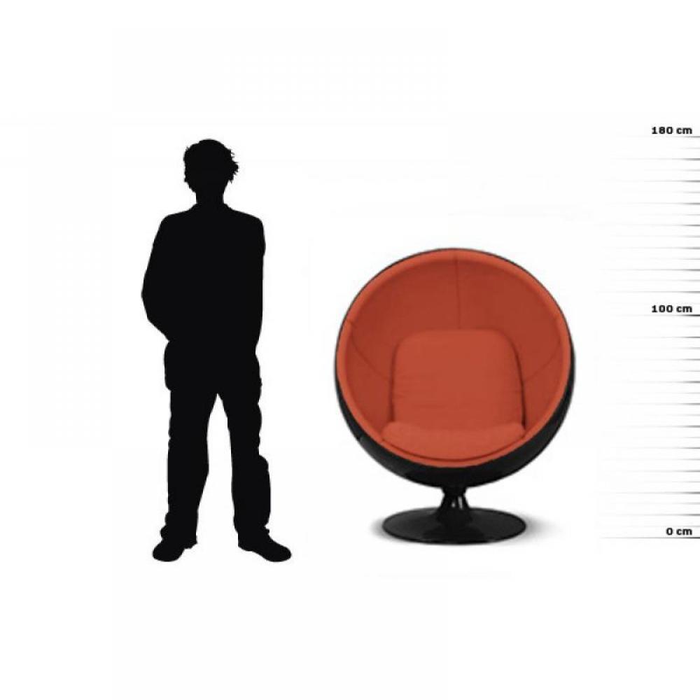 Fauteuil boule, Ball chair coque noir / intérieur velours orange. Design 70