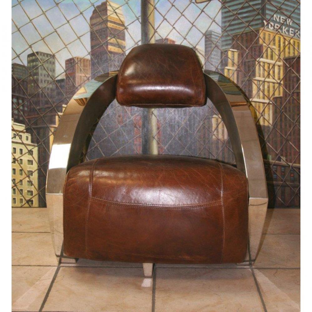 Fauteuil club vintage design en cuir et tissu au meilleur prix fauteuil club aviateur prestige for Pouf cuir vieilli
