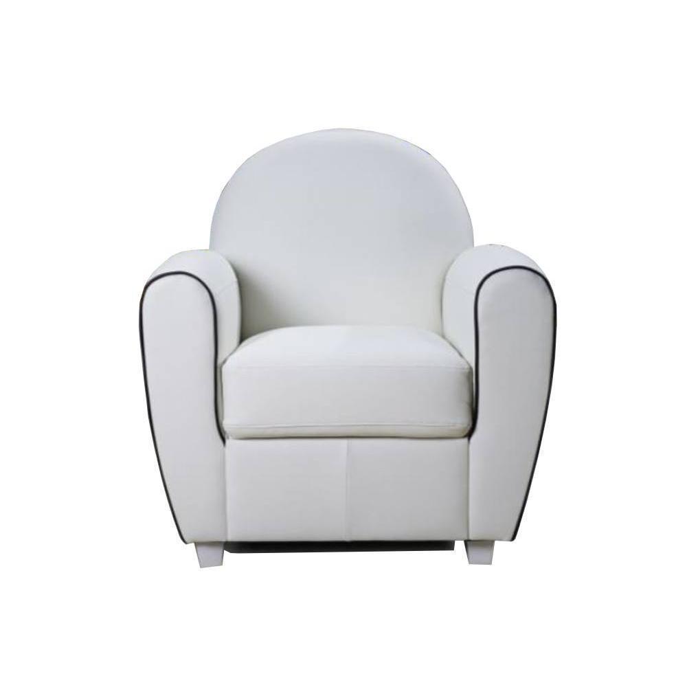 fauteuils et poufs canap s et convertibles fauteuil club bufallo blanc avec passepoil noir. Black Bedroom Furniture Sets. Home Design Ideas