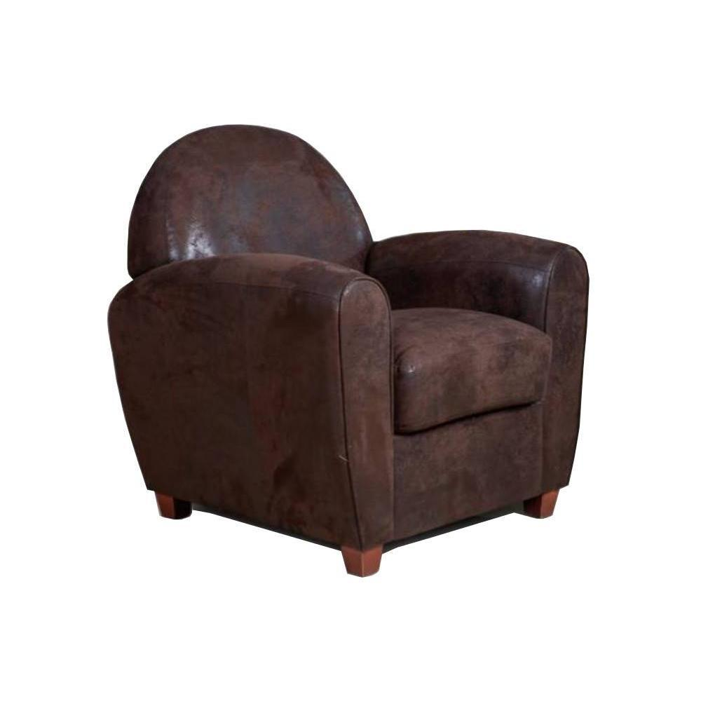 fauteuils club canap s et convertibles fauteuil club bufallo en microfibre vintage marron. Black Bedroom Furniture Sets. Home Design Ideas