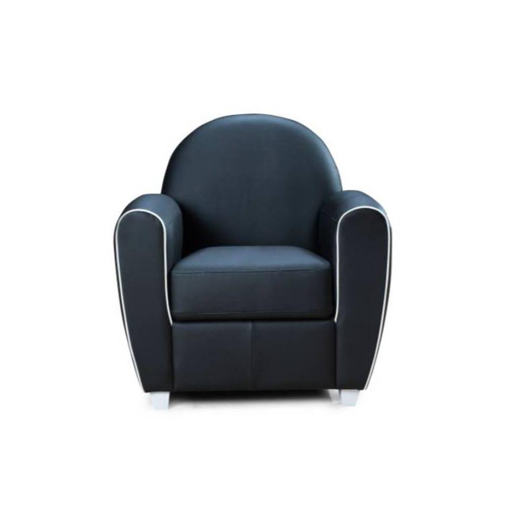 fauteuil club vintage design en cuir et tissu au meilleur prix fauteuil club bufallo noir avec. Black Bedroom Furniture Sets. Home Design Ideas
