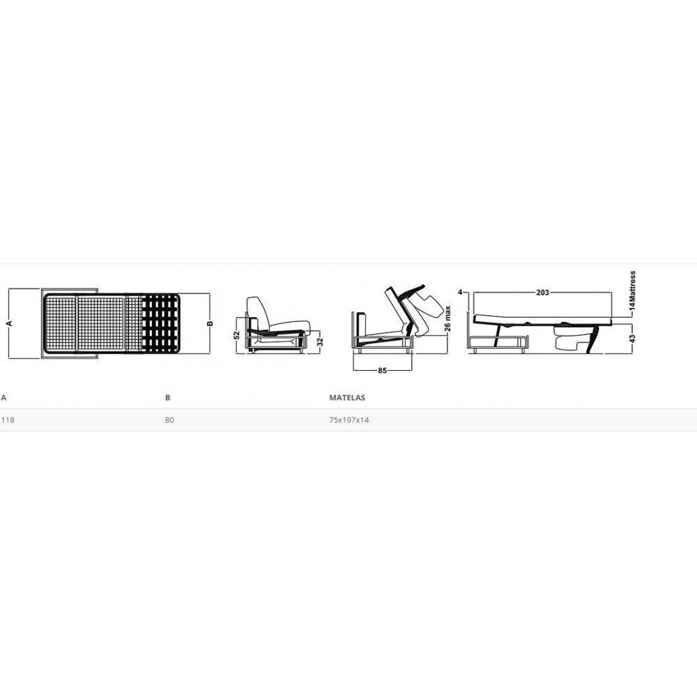 Fauteuil convertible express ARIA 75cm ouverture/fermeture AUTOMATIQUE électrique matelas 14cm