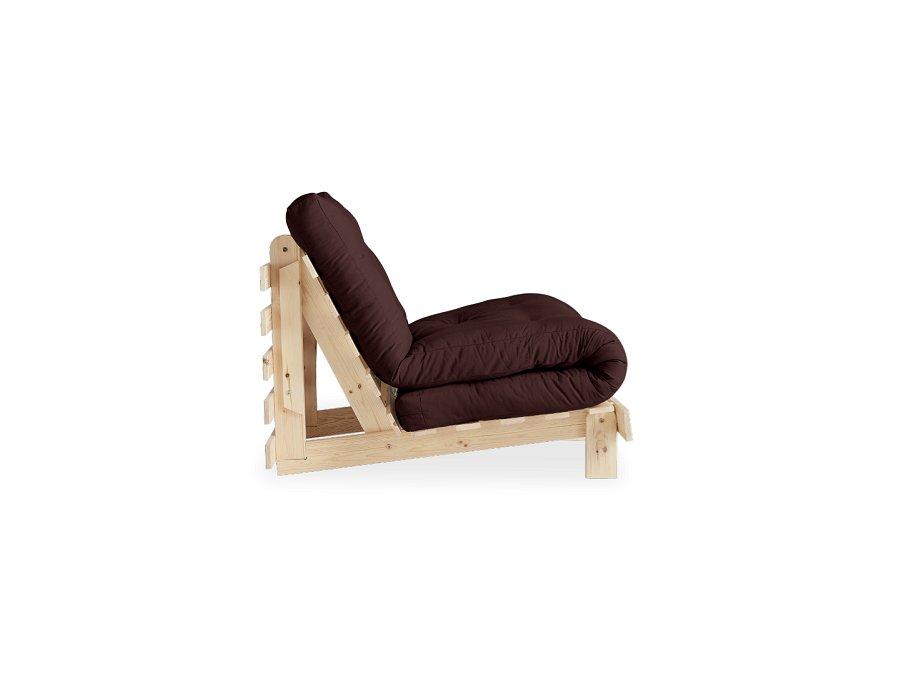 Fauteuil convertible futon RACINES pin naturel coloris marron couchage 90 x 200 cm.