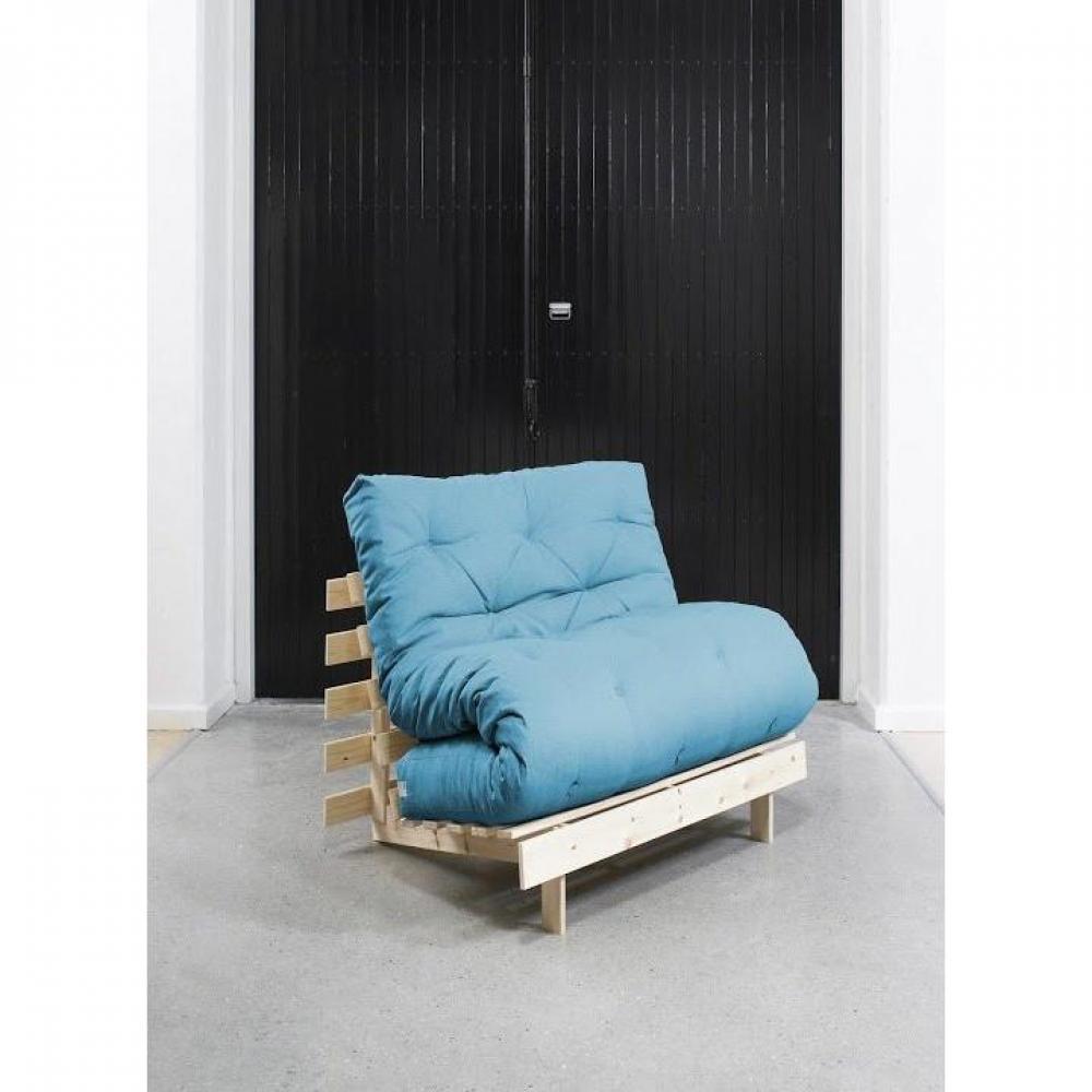 fauteuils convertibles fauteuil bz style scandinave roots natural futon bleu azur couchage 90. Black Bedroom Furniture Sets. Home Design Ideas