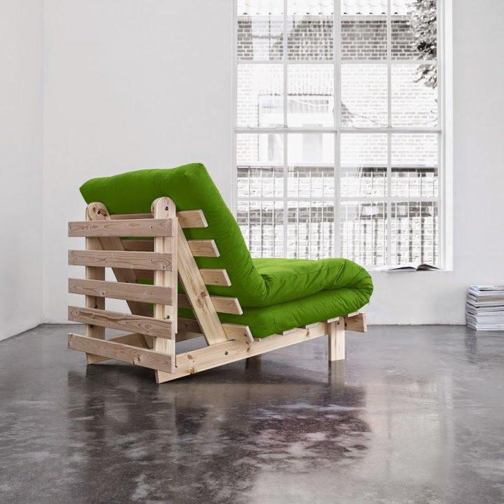fauteuils futon canap s et convertibles fauteuil bz style scandinave roots natural futon vert. Black Bedroom Furniture Sets. Home Design Ideas