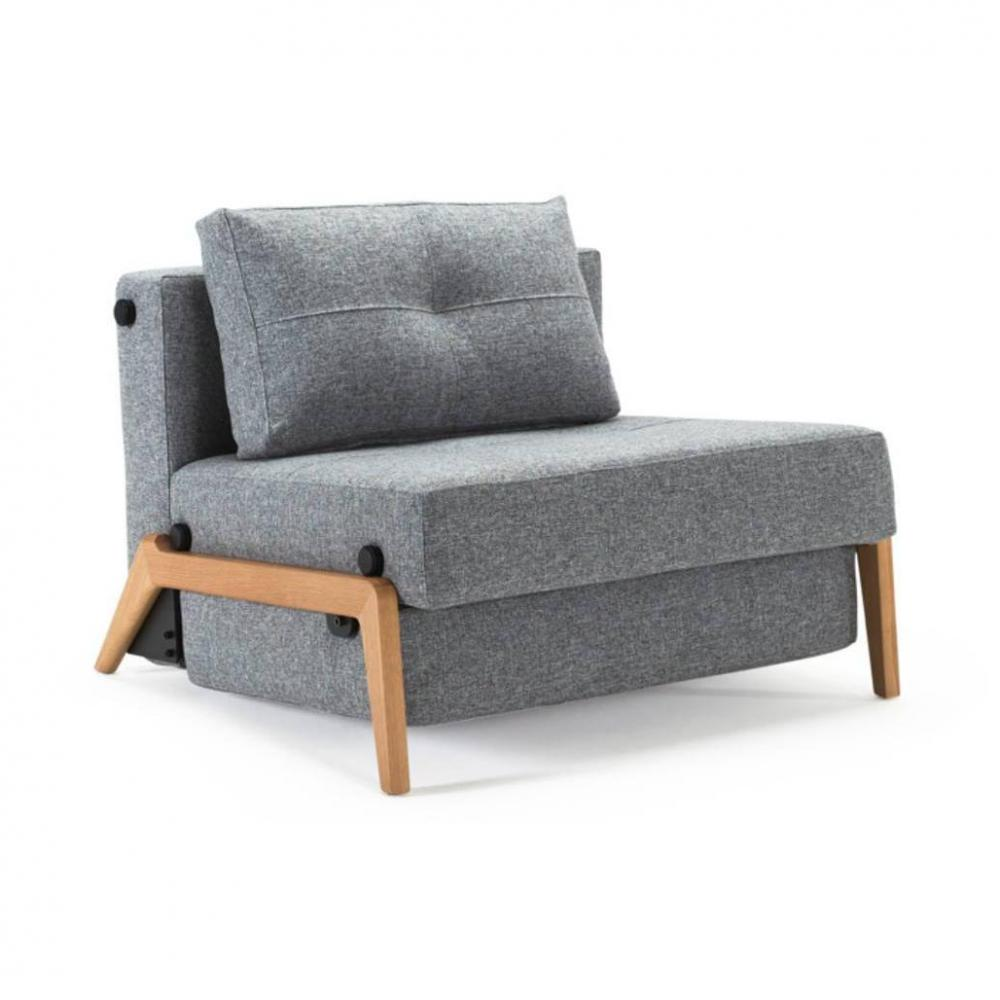 INNOVATION LIVING  Fauteuil design SOFABED CUBED 02 WOOD Twist Granite convertible lit 200*90 cm