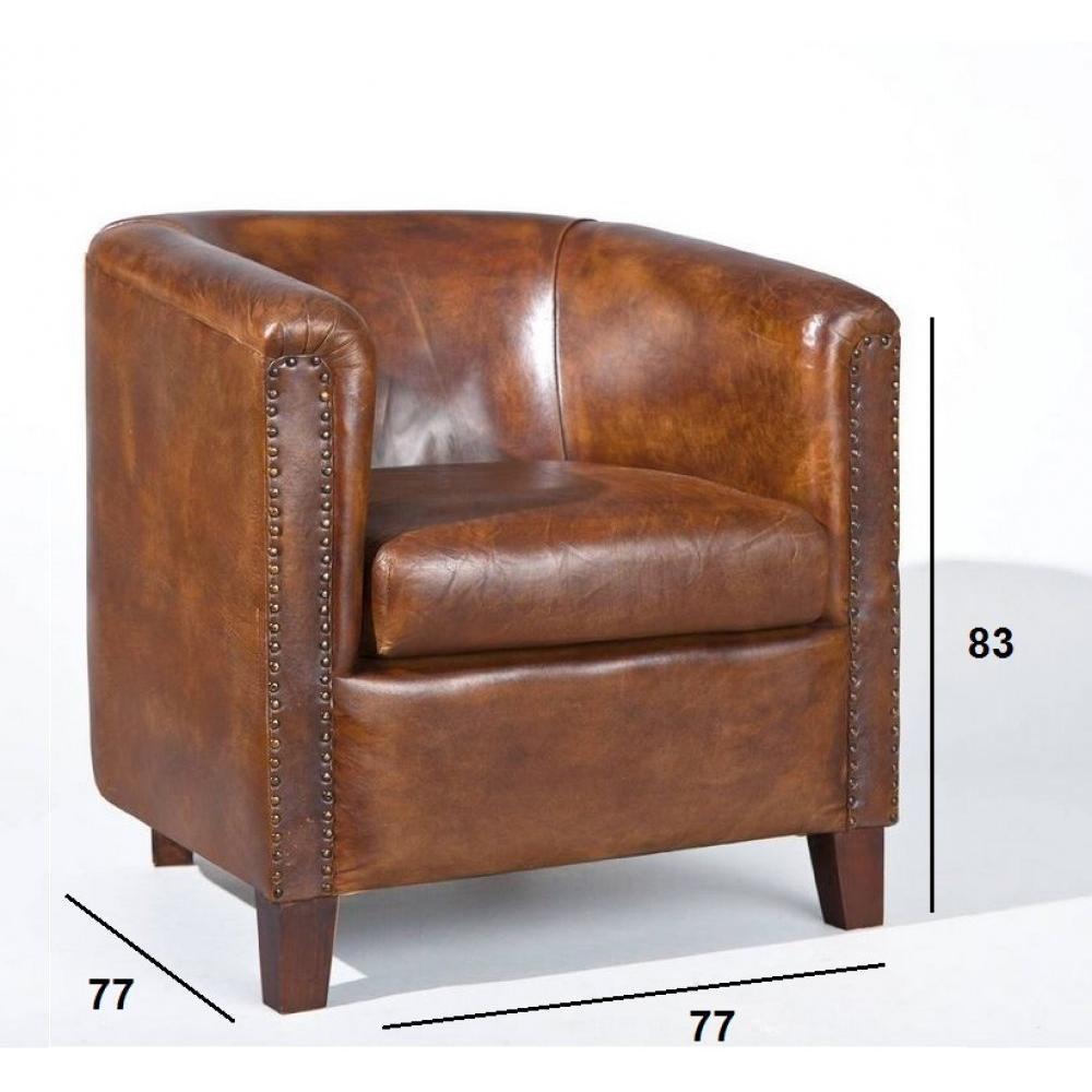 Fauteuils poufs design au meilleur prix fauteuil vintage cornwell en c - Fauteuil cuir marron vintage ...