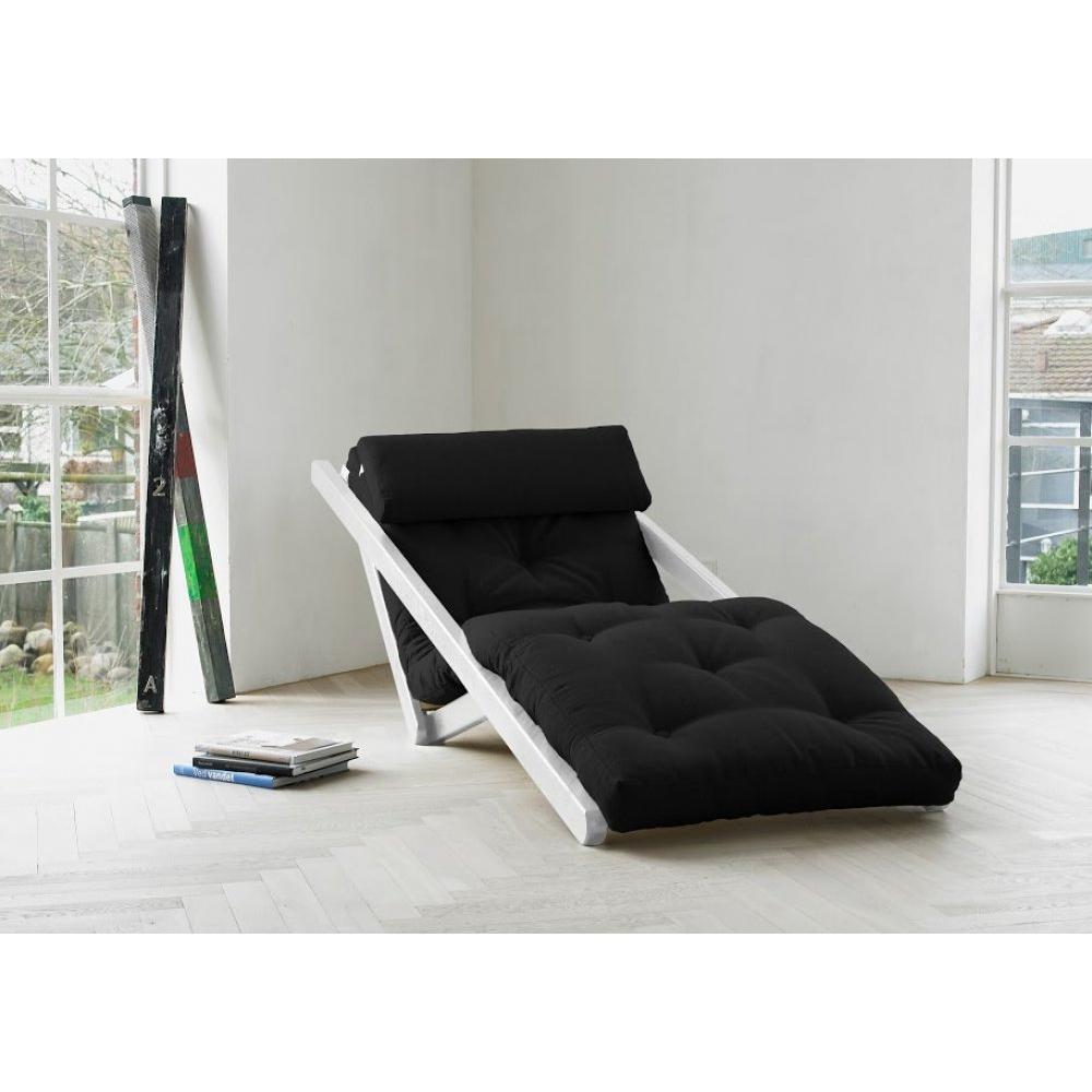 Chaise longue convertible blanche FIGO futon grey graphite couchage 70*200cm. Le fauteuil n'est pas seulement essentiel ! il est aussi déco, de