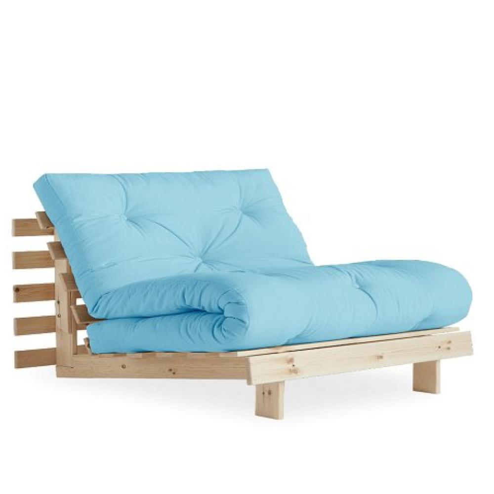 Fauteuil convertible futon RACINES pin naturel coloris bleu clair couchage 90 x 200 cm.