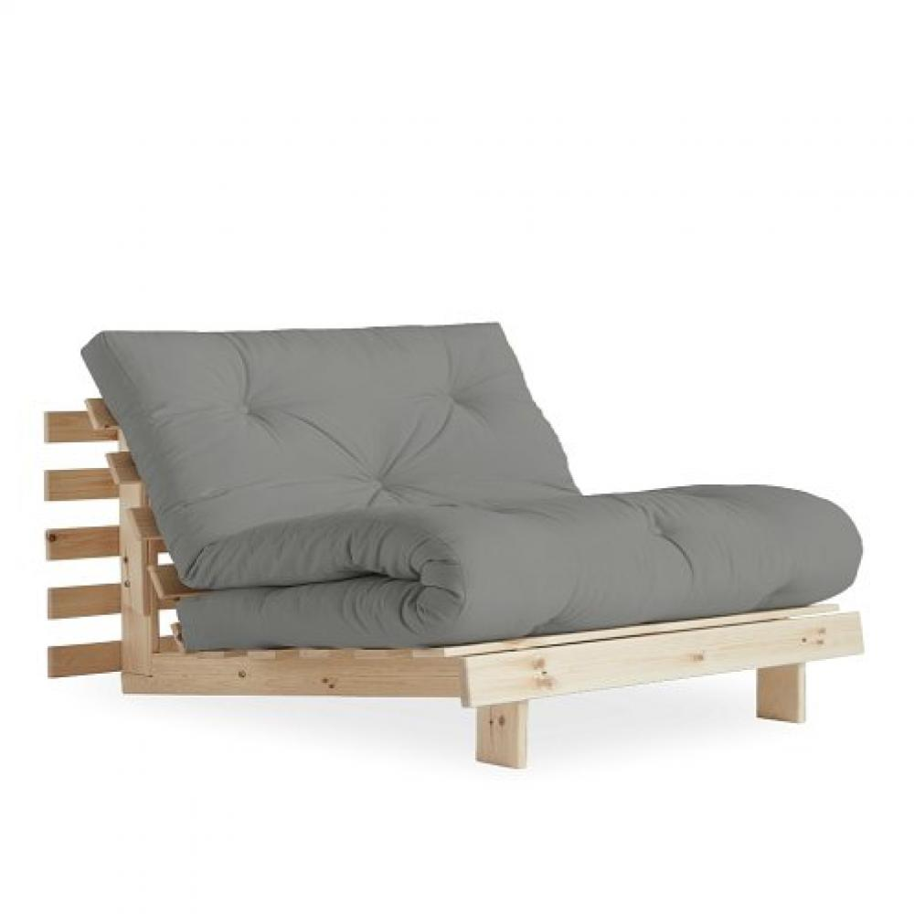 Fauteuil convertible futon RACINES pin naturel coloris gris couchage 90 x 200 cm.