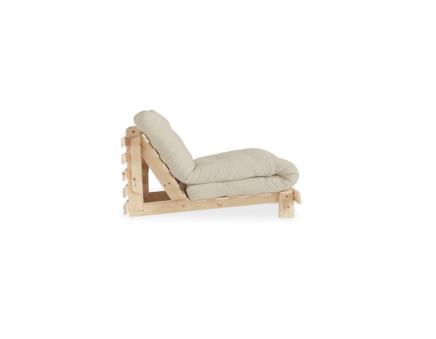 Fauteuil convertible futon RACINES pin naturel coloris beige couchage 90 x 200 cm.