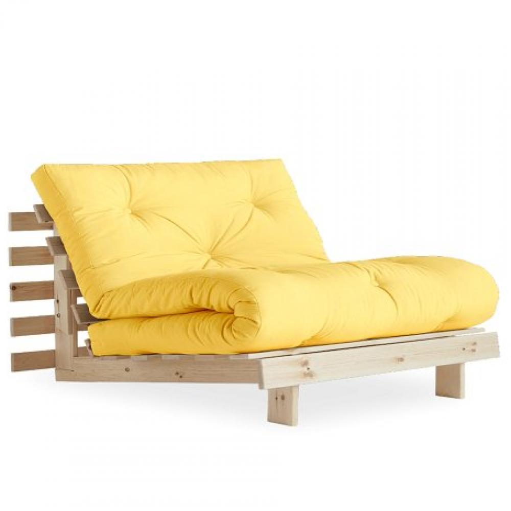 Fauteuil convertible futon RACINES pin naturel coloris jaune couchage 90 x 200 cm.