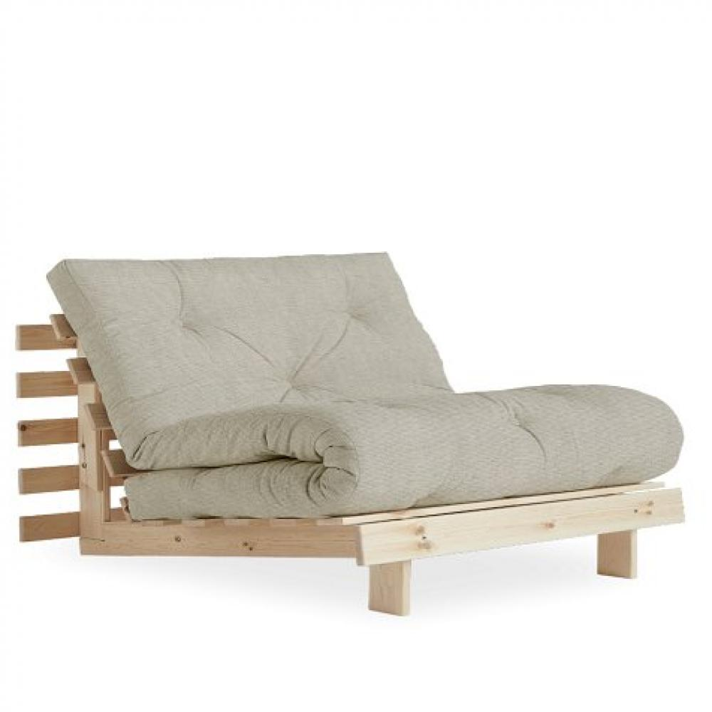 Fauteuil convertible futon RACINES pin naturel tissu lin couchage 90 x 200 cm.