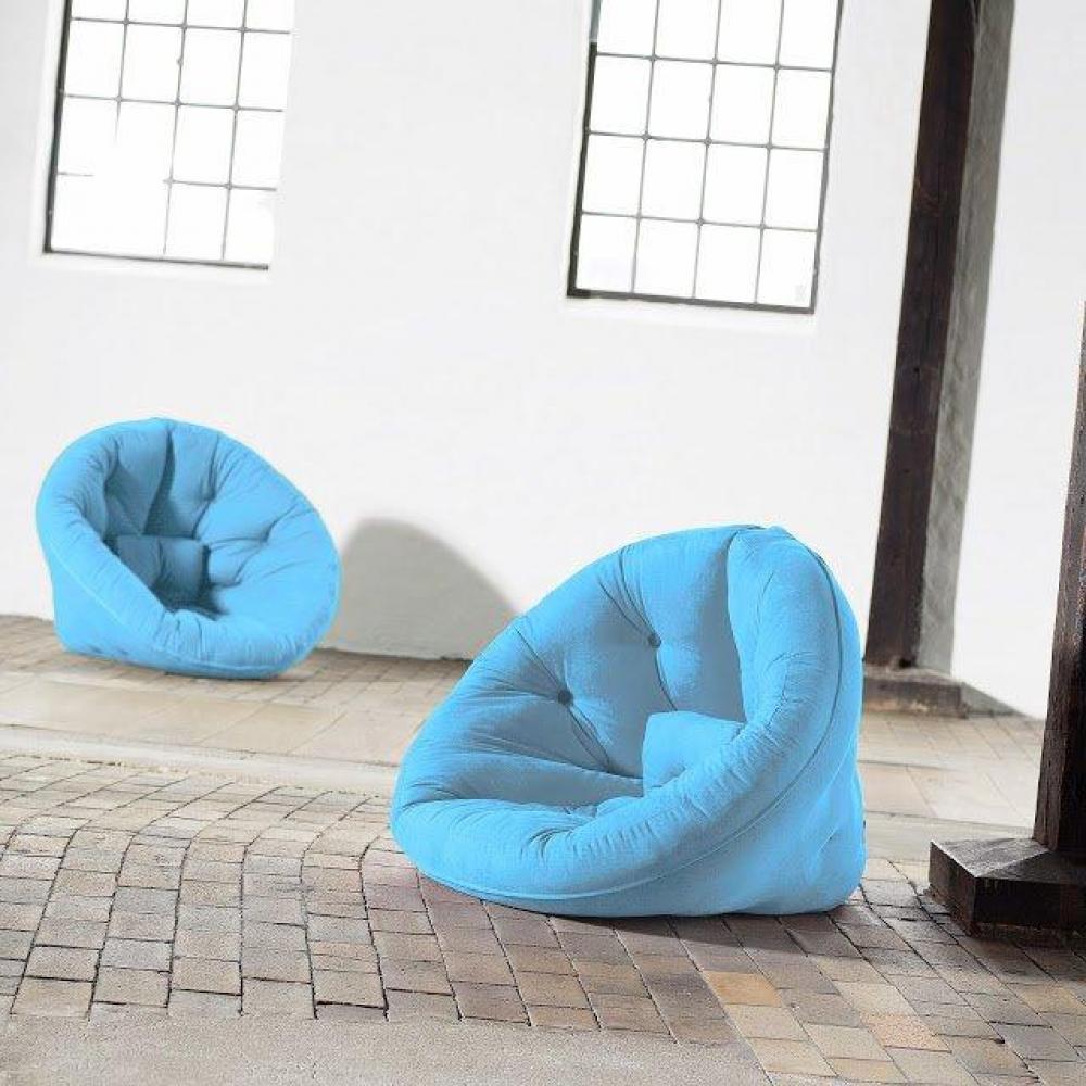 Fauteuil futon design NILS bleu clair couchage 90*180*14cm