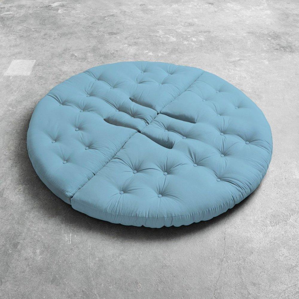Fauteuil futon design NIDO bleu clair couchage 90*180*14cm