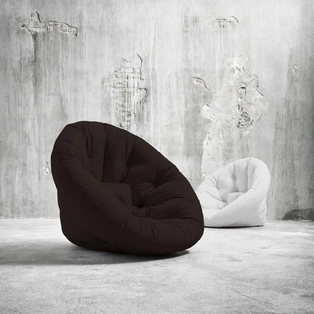 Fauteuil futon design NILS coloris marron couchage 90 x 180 cm.
