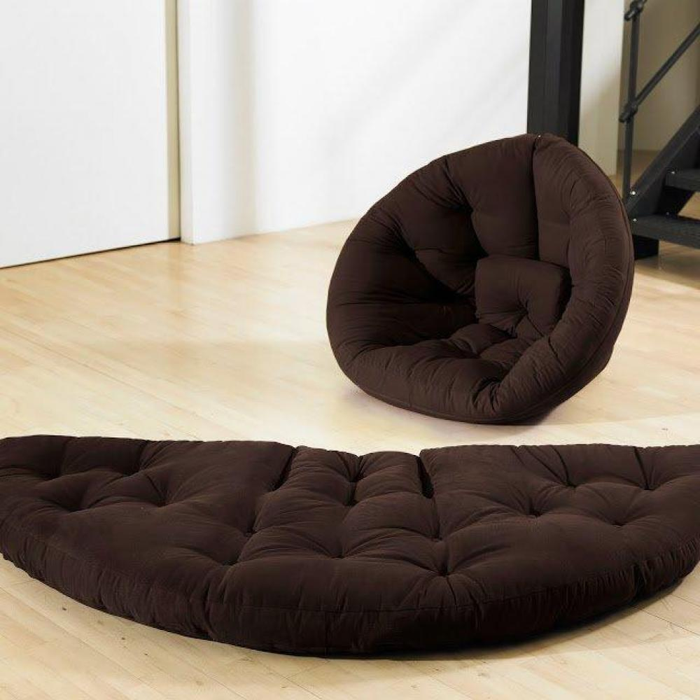 Fauteuil futon design NILS marron couchage 90*180*14cm
