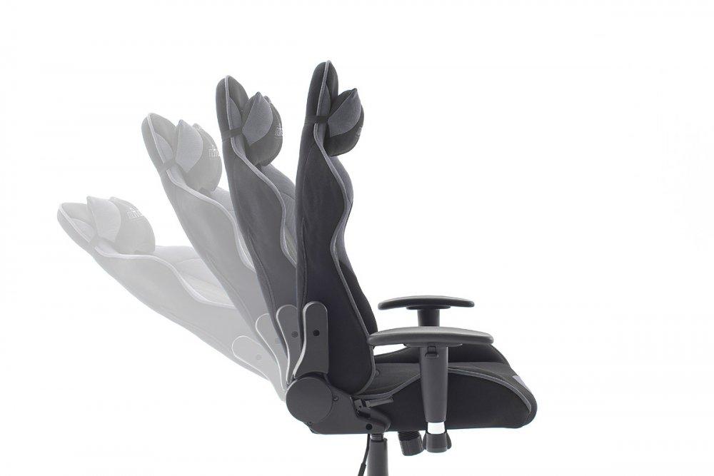 Fauteuil Gaming MACAYE renfort lombaires et têtière tissu noir gris
