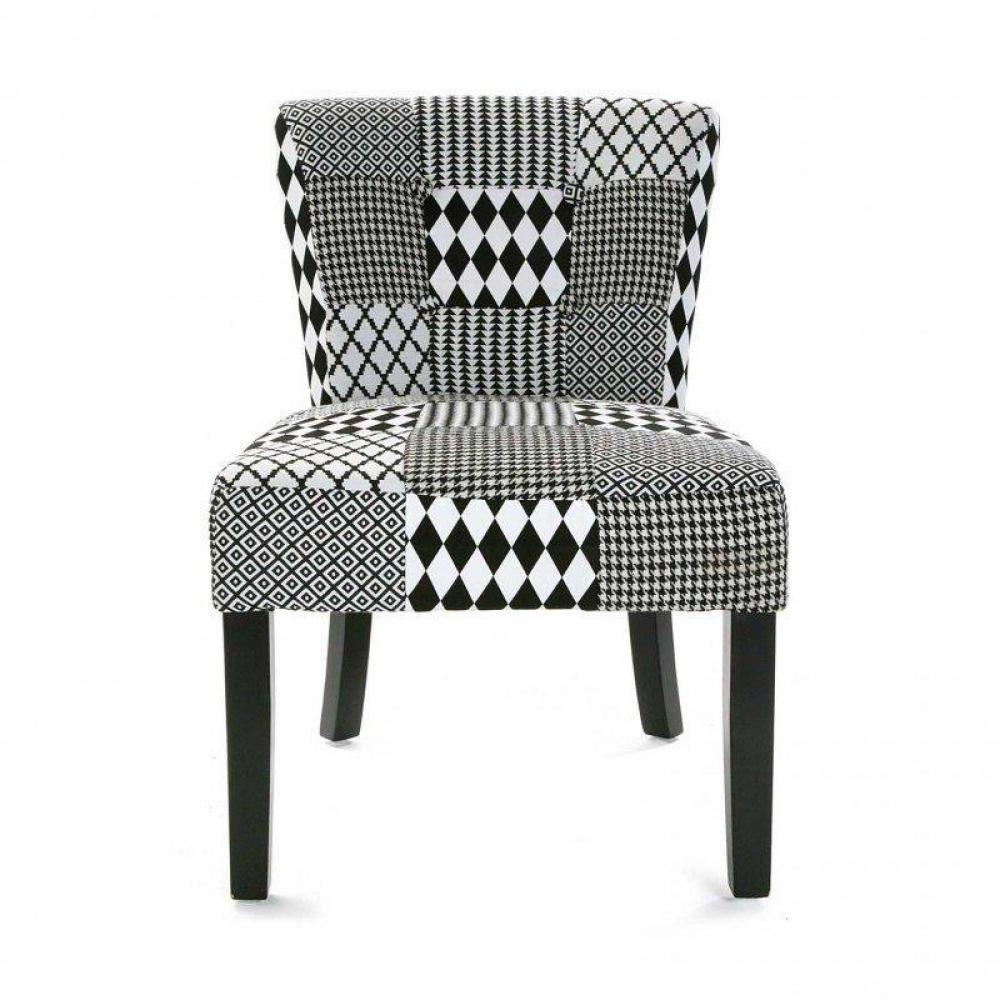 Fauteuil design au meilleur prix fauteuil gaston motif pied de poule noir bl - Fauteuil pied de poule ...