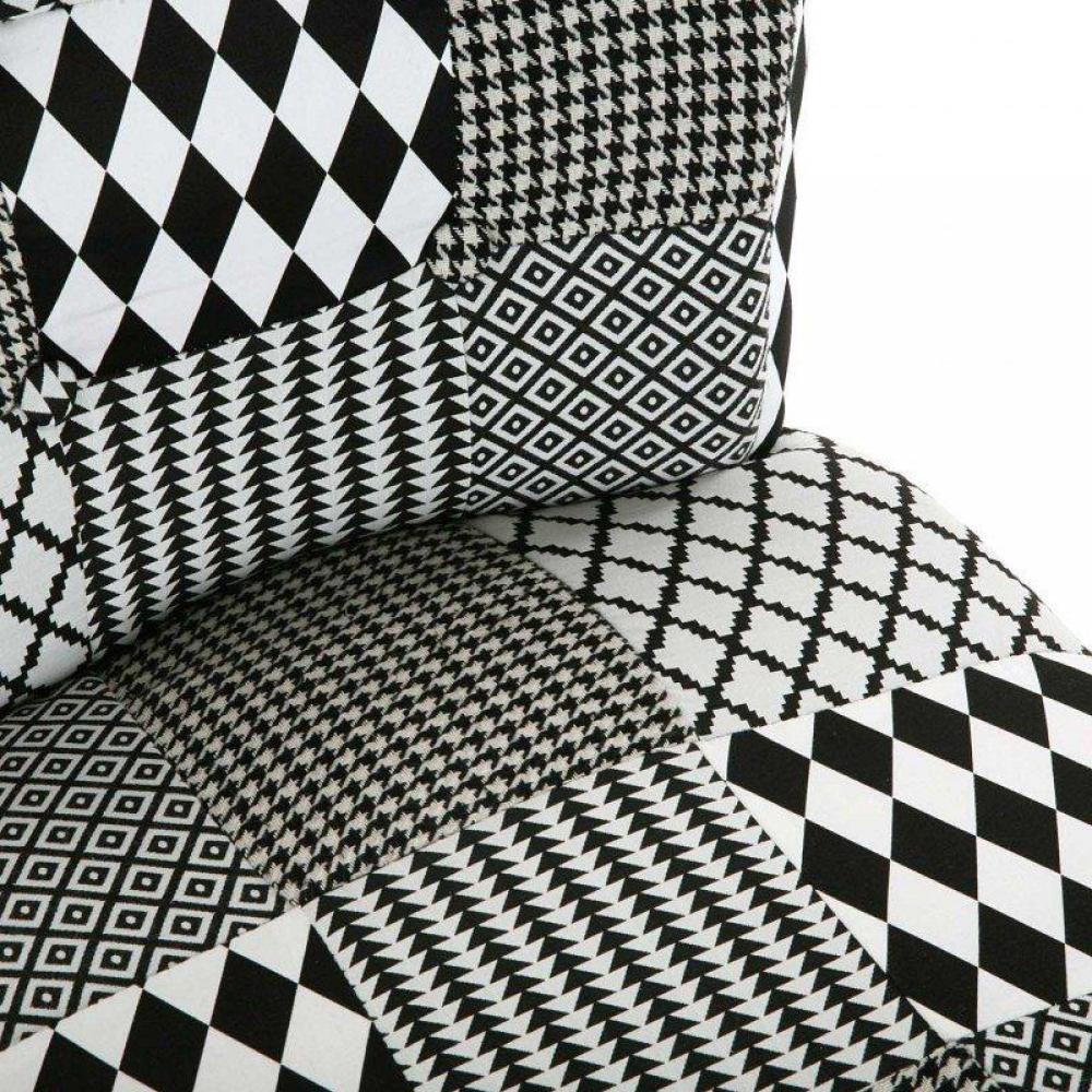 fauteuil design au meilleur prix fauteuil gaston motif pied de poule noir blanc inside75. Black Bedroom Furniture Sets. Home Design Ideas