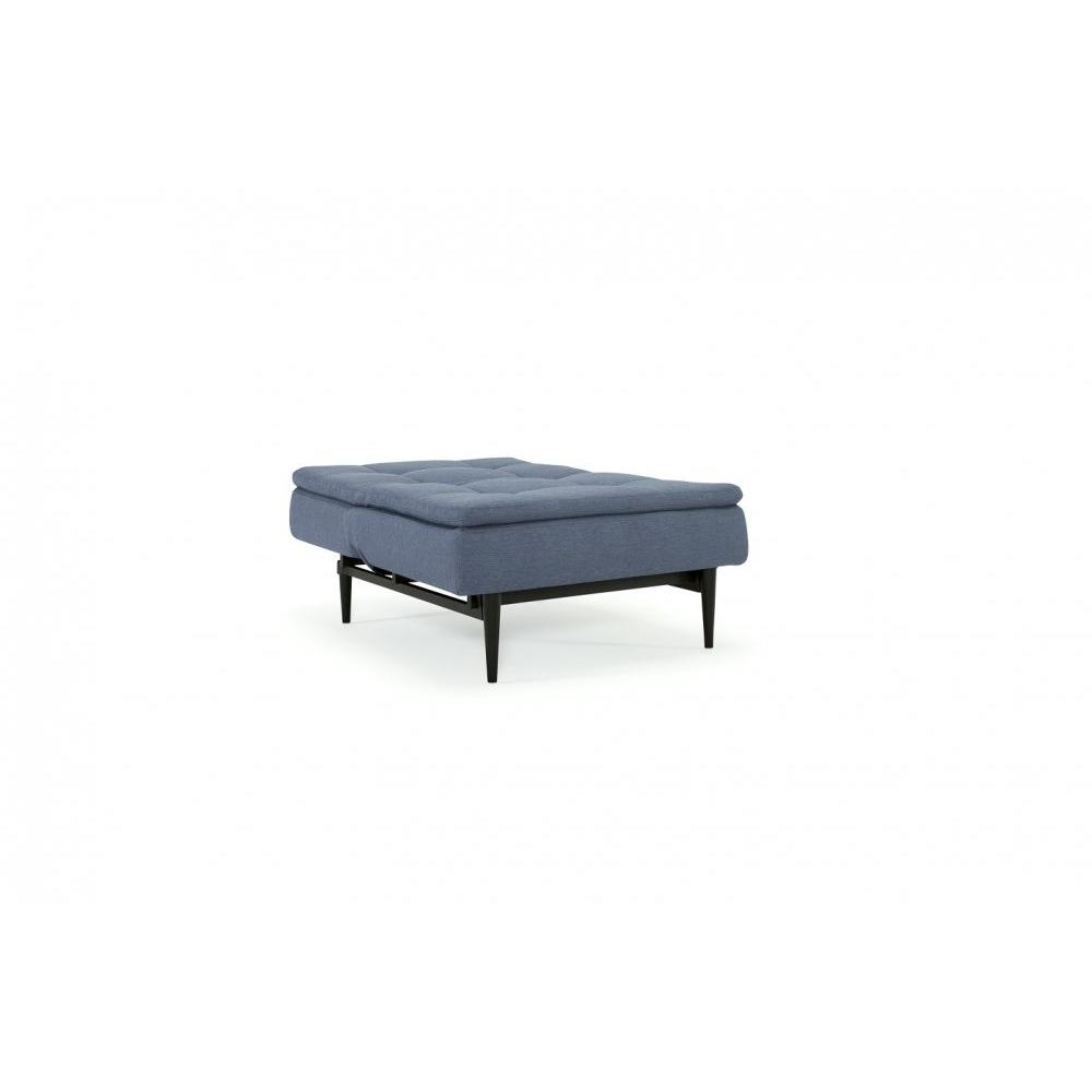 INNOVATION LIVING  Fauteuil design DUBLEXO STYLETTO bleu Soft Indigo convertible lit 90*115 cm pietement teinte noir