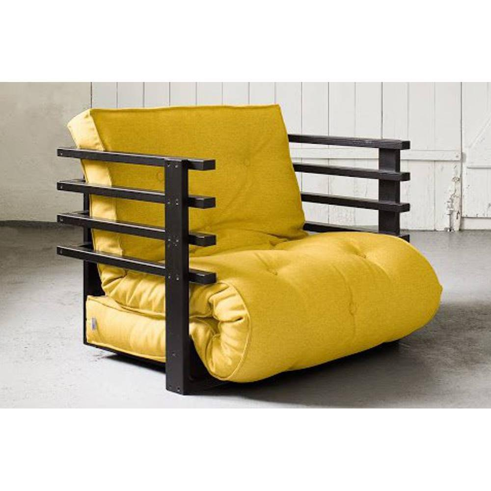 fauteuils convertibles canap s et convertibles fauteuil lit noir funk futon jaune couchage 80. Black Bedroom Furniture Sets. Home Design Ideas
