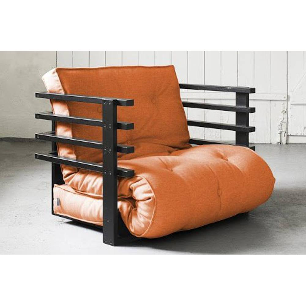 fauteuils futon canap s et convertibles fauteuil lit noir funk futon orange couchage 80 190cm. Black Bedroom Furniture Sets. Home Design Ideas