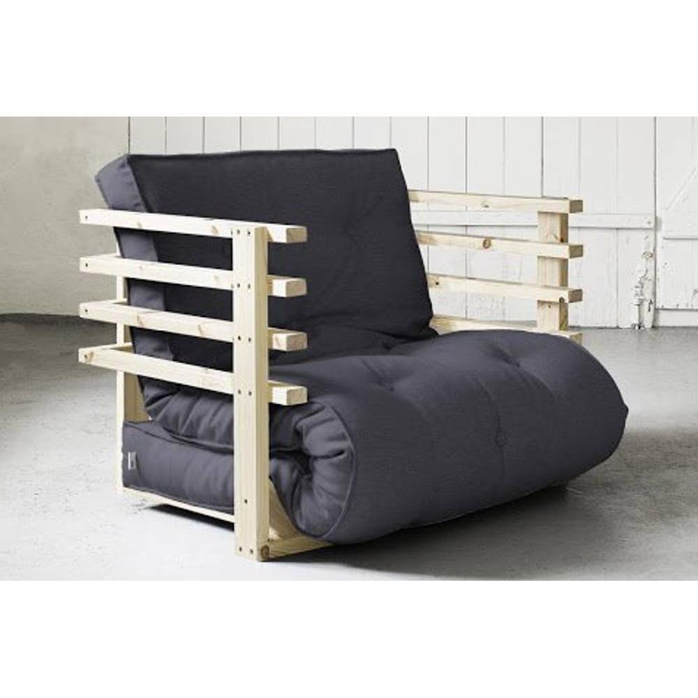 fauteuils convertibles fauteuil lit en pin massif funk futon grey graphite couchage 80 190cm. Black Bedroom Furniture Sets. Home Design Ideas
