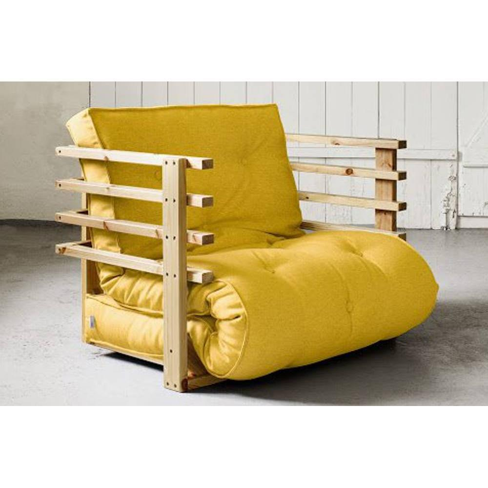 fauteuils poufs design au meilleur prix fauteuil lit en pin massif funk futon jaune couchage. Black Bedroom Furniture Sets. Home Design Ideas