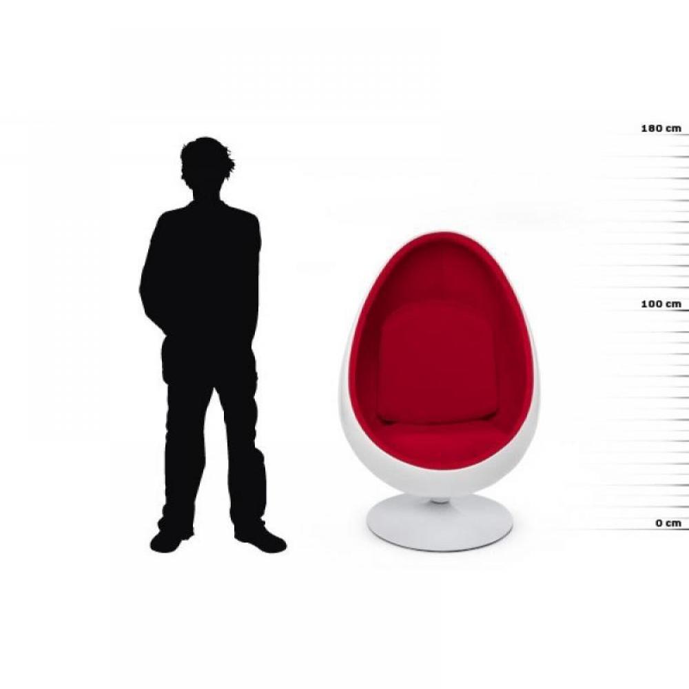 Fauteuil pivotant Oeuf, Egg chair coque blanche / intérieur velours rouge Design 70